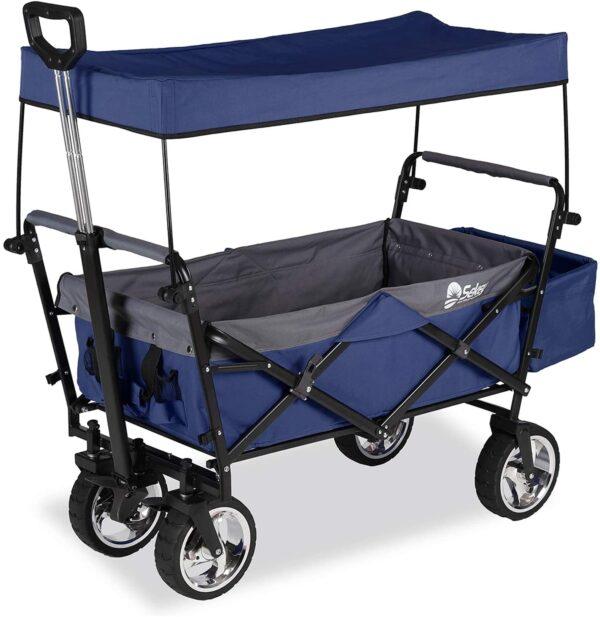 Bollerwagen, blau mit Korb