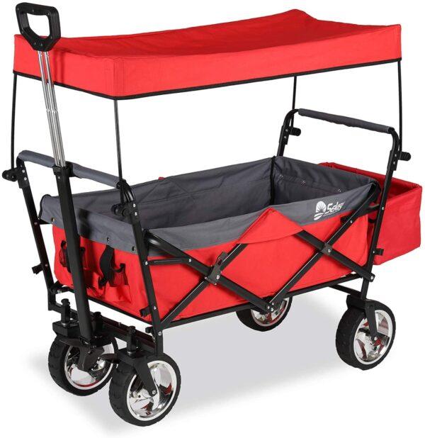 Bollerwagen, rot mit Korb